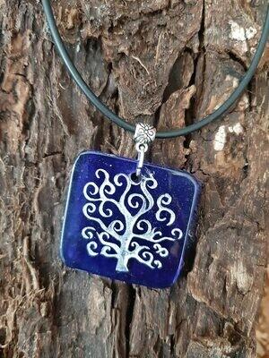 Lebensbaum - Kette - Flaschenglas - blau