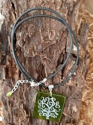 Lebensbaum - Kette - Flaschenglas - grün