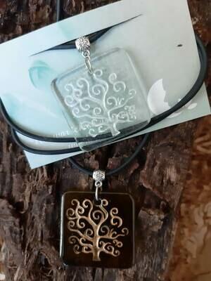 Lebensbaum - Kette - Flaschenglas - weiß