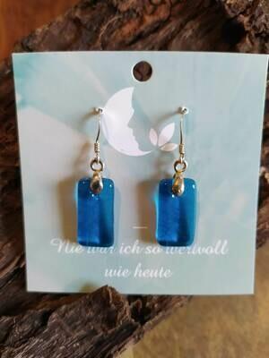 Glasohrringe - blau - eckig - 925 Silber