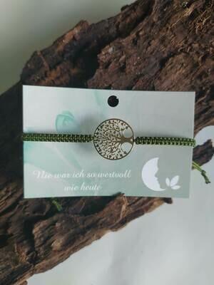 Armband - Lebensbaum - golden/oliv