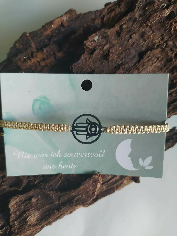 Armband - Hamsa Hand - silber/beige