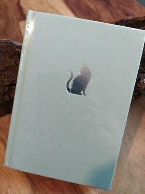 Notizbuch mit silberner Katze - hellgrün