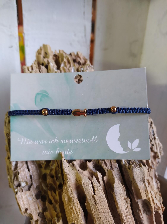 Armband - Fisch - rosegold/dunkelblau