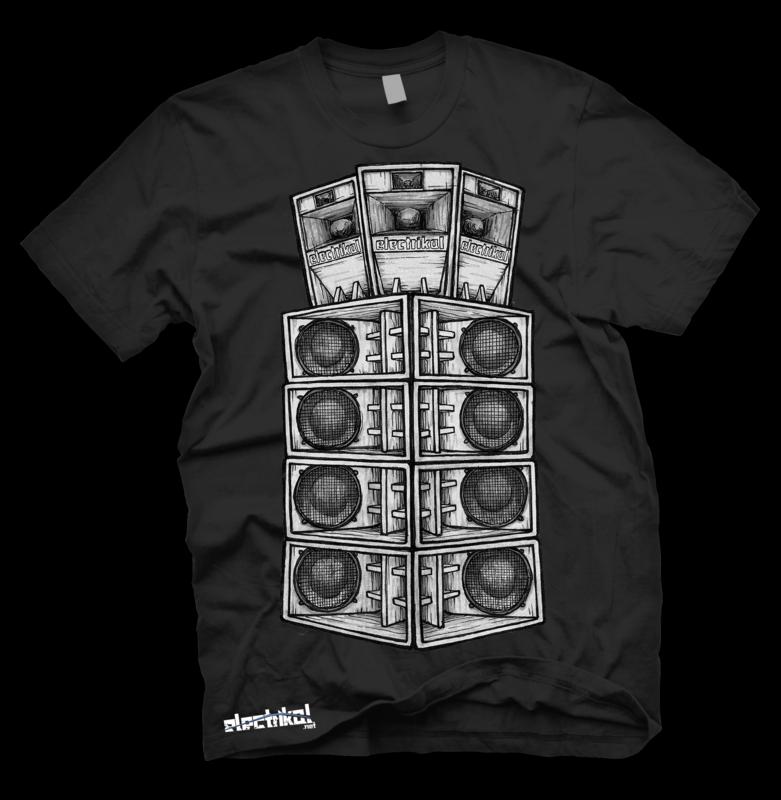 Tall Speaker Stack | Black | T-shirt