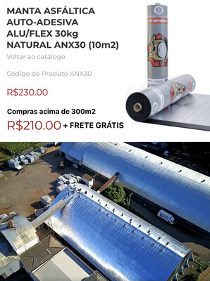 MANTA ASFÁLTICA AUTO-ADESIVA ALU/FLEX 30kg NATURAL ANX30 (10m2)