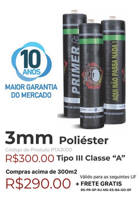 "Manta Asfáltica Poliéster 3mm Tipo III Classe ""A"" (10m2) PTA3000"