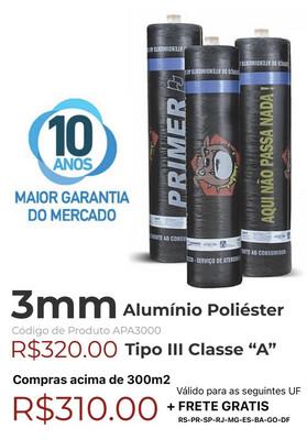 "Manta Asfáltica Alu/Poliéster 3mm Tipo III Classe ""A"" (10m2) APA3000"