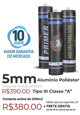 "Manta Asfáltica Alu/Poliéster 5mm Tipo III Classe ""A"" (10m2) APA5000"