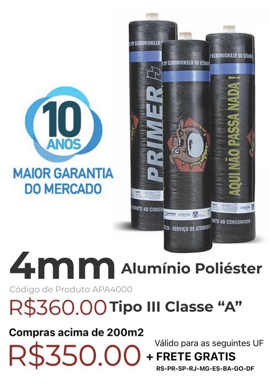 "Manta Asfáltica Alu/Poliéster 4mm Tipo III Classe ""A"" (10m2) APA4000"