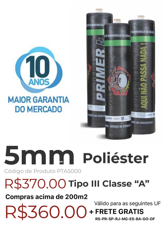 "Manta Asfáltica Poliéster 5mm Tipo III Classe ""A"" (10m2) PTA5000"