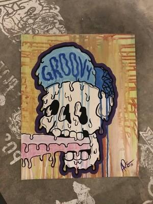 Groovy Melty Skull Print