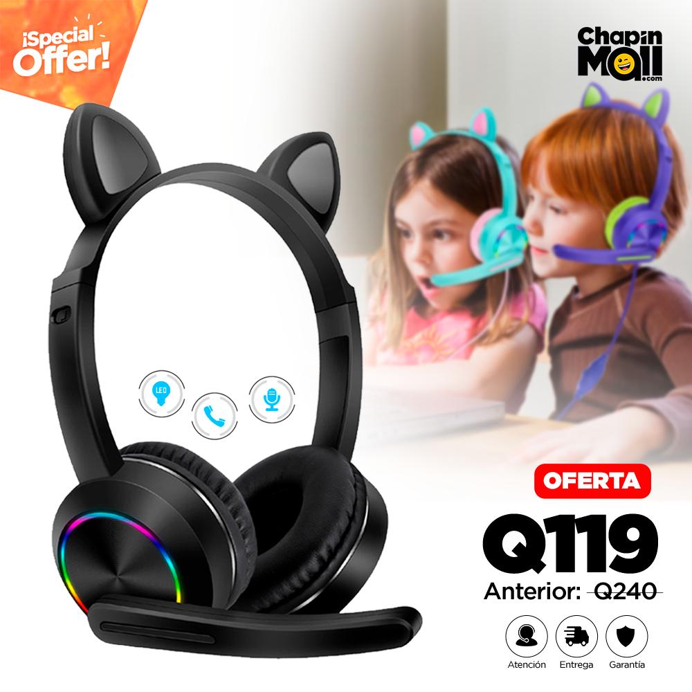 Audífonos de Gato con Micrófono y Luz LED para Niñ@s