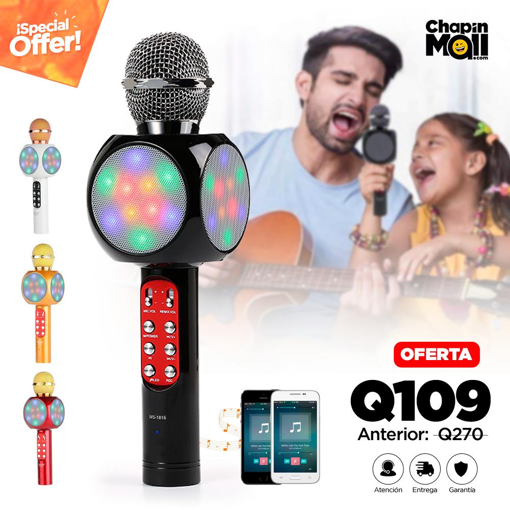 Micrófono Karaoke con Bocina LED Bluetooth Integrada