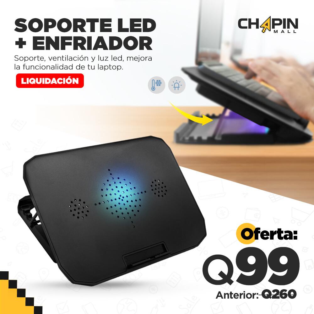 Soporte Multifuncional con Ventilador y Luz LED para Laptop