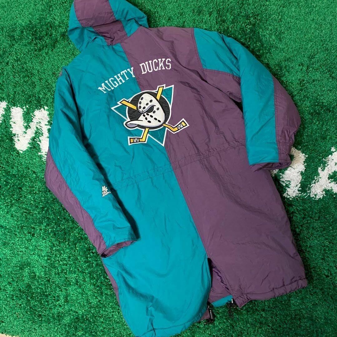 Anaheim Mighty Ducks Trench Coat 90's Size Medium