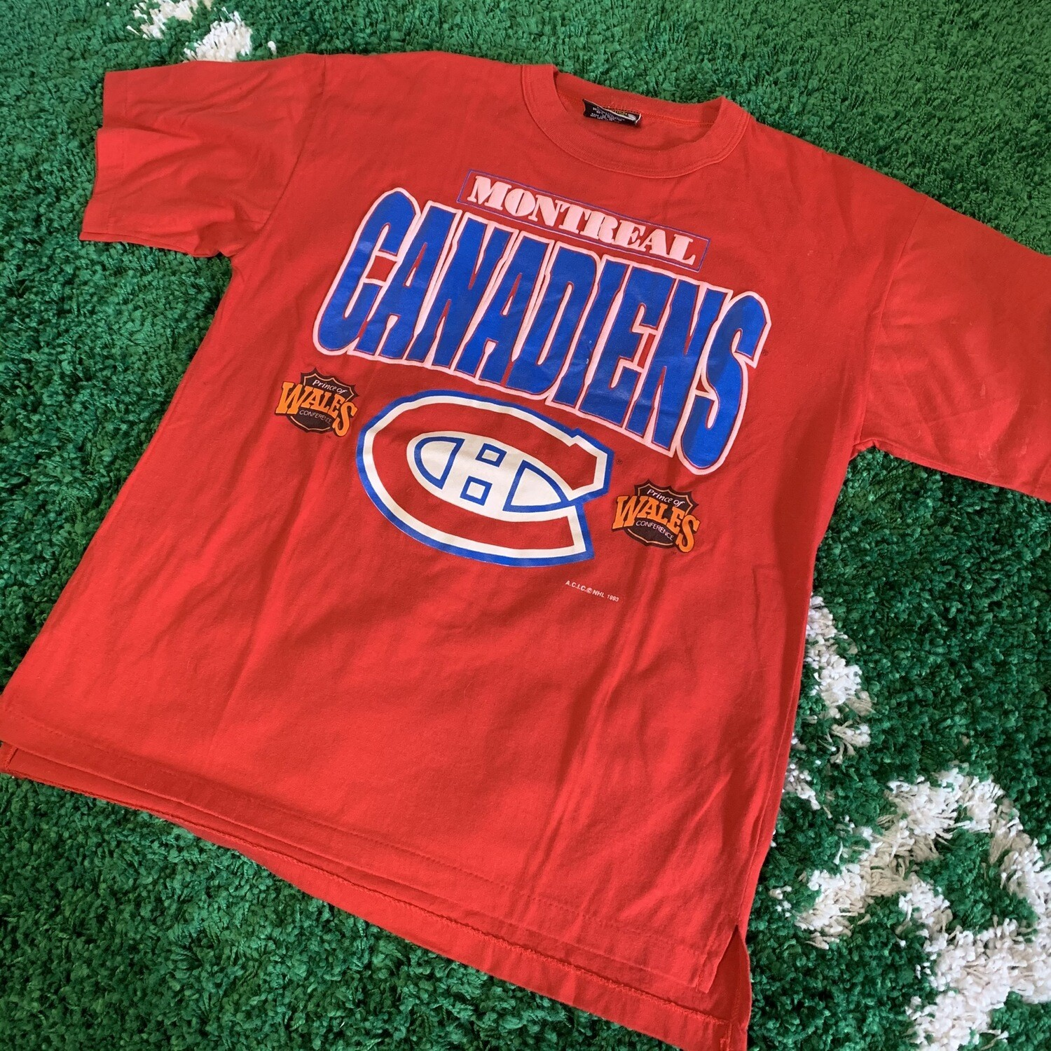 Montreal Canadiens T-Shirt Red 90's Size Large