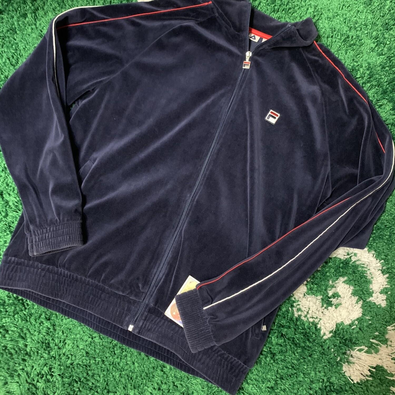 Fila Velour Zip Up Sweater Size XL