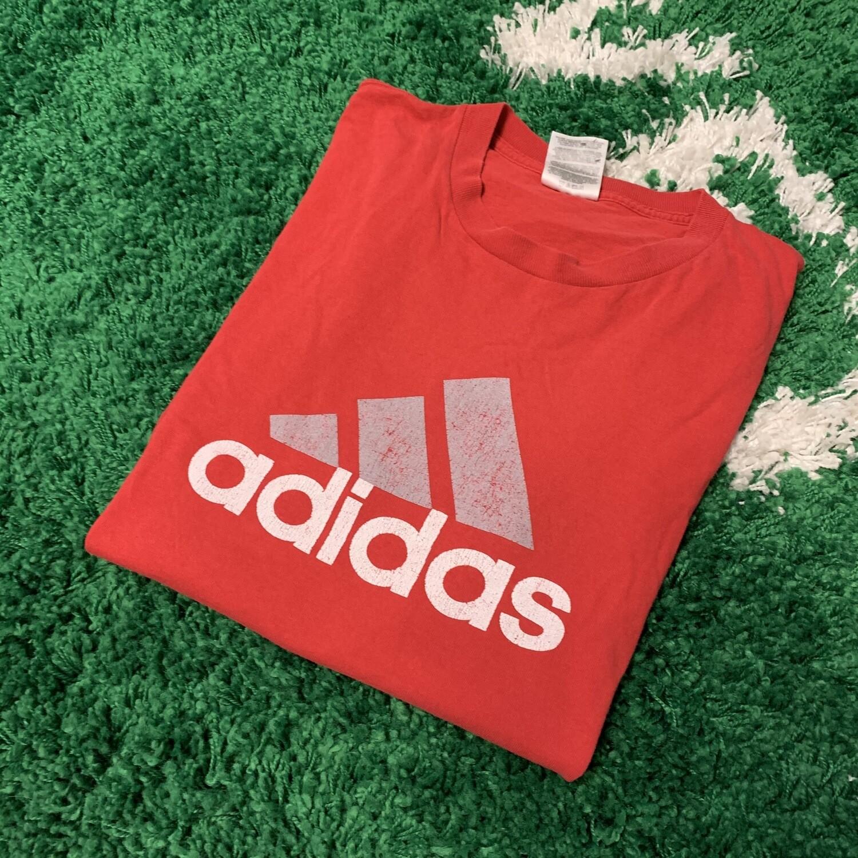 Adidas Logo T-Shirt Red Size Large