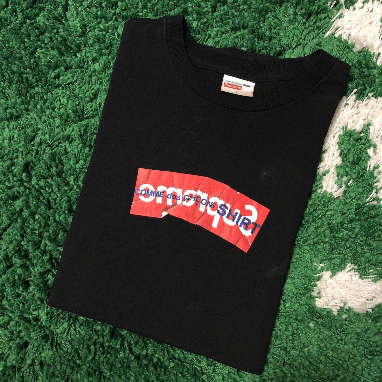 Supreme CDG Box Logo T-Shirt Black Size Large