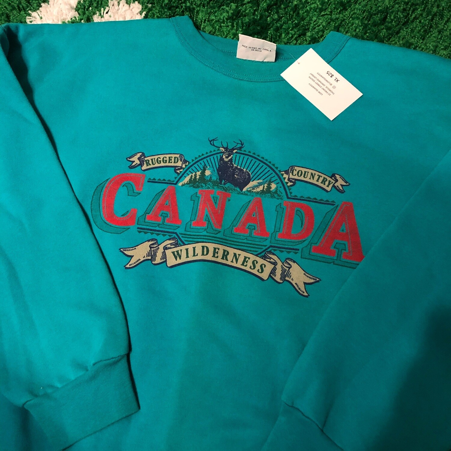 Canada Wilderness Sweater Teal Size XL