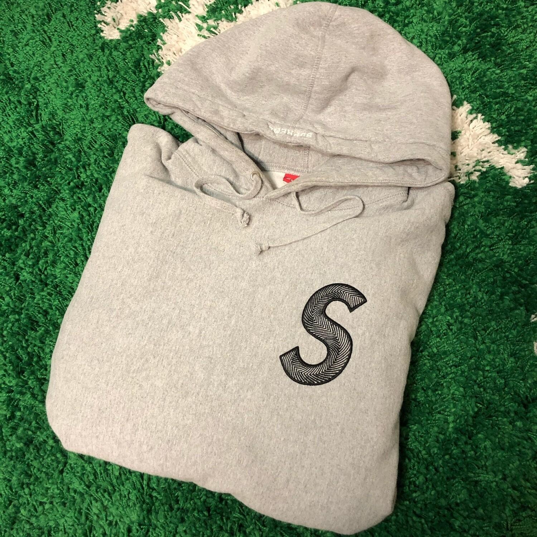 Supreme S Logo Hoodie Grey Size Large
