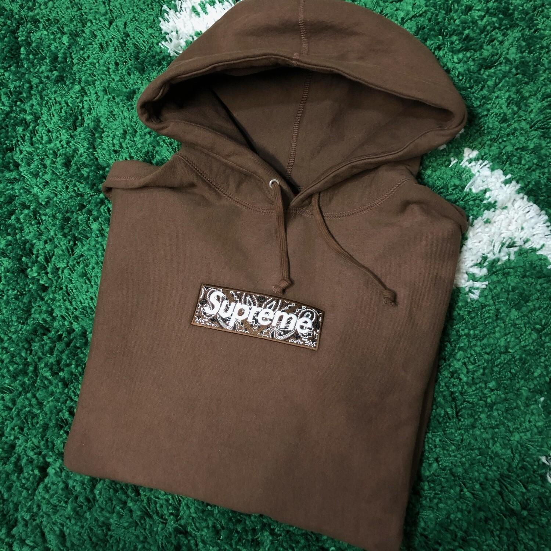 Supreme Bandana Box Logo Hoodie Brown Size Large
