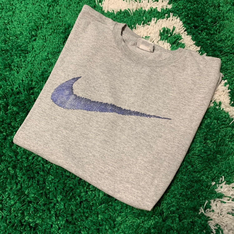 Nike Big Swoosh Tee Grey Blue Size Large