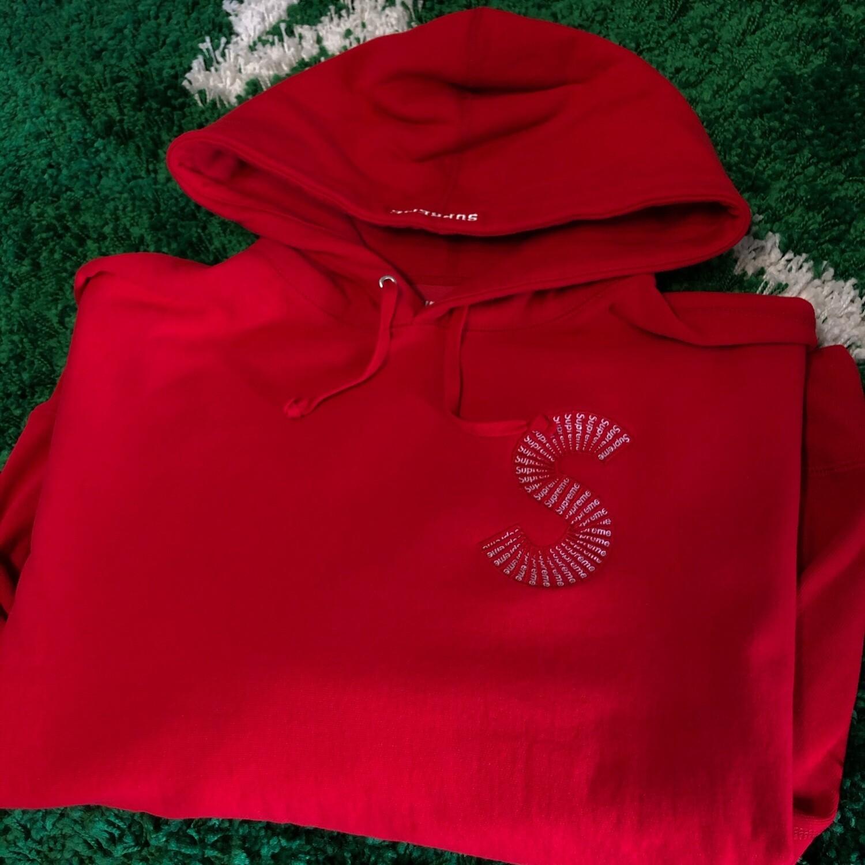 Supreme S Logo Hoodie Red Size Medium
