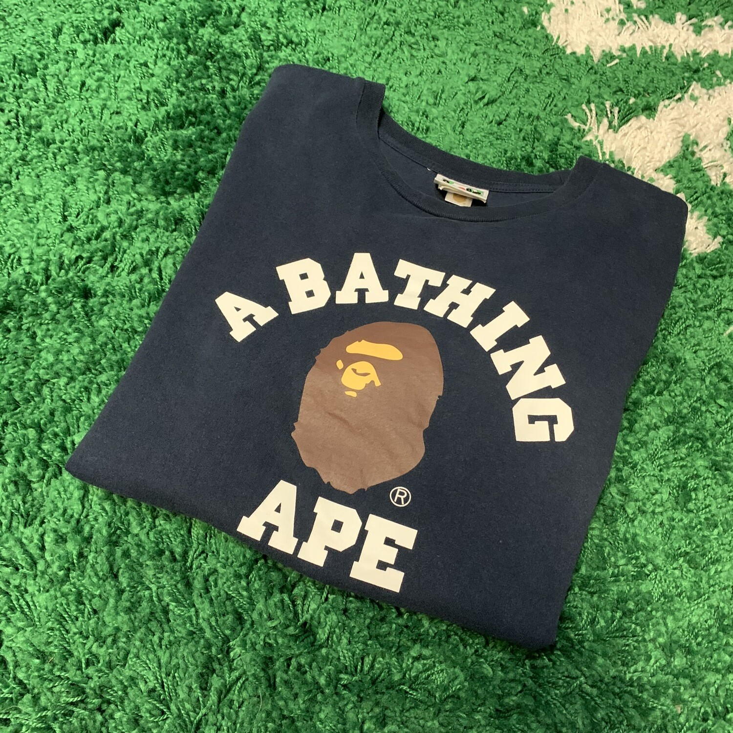 A Bathing Ape Tee Navy Size Large