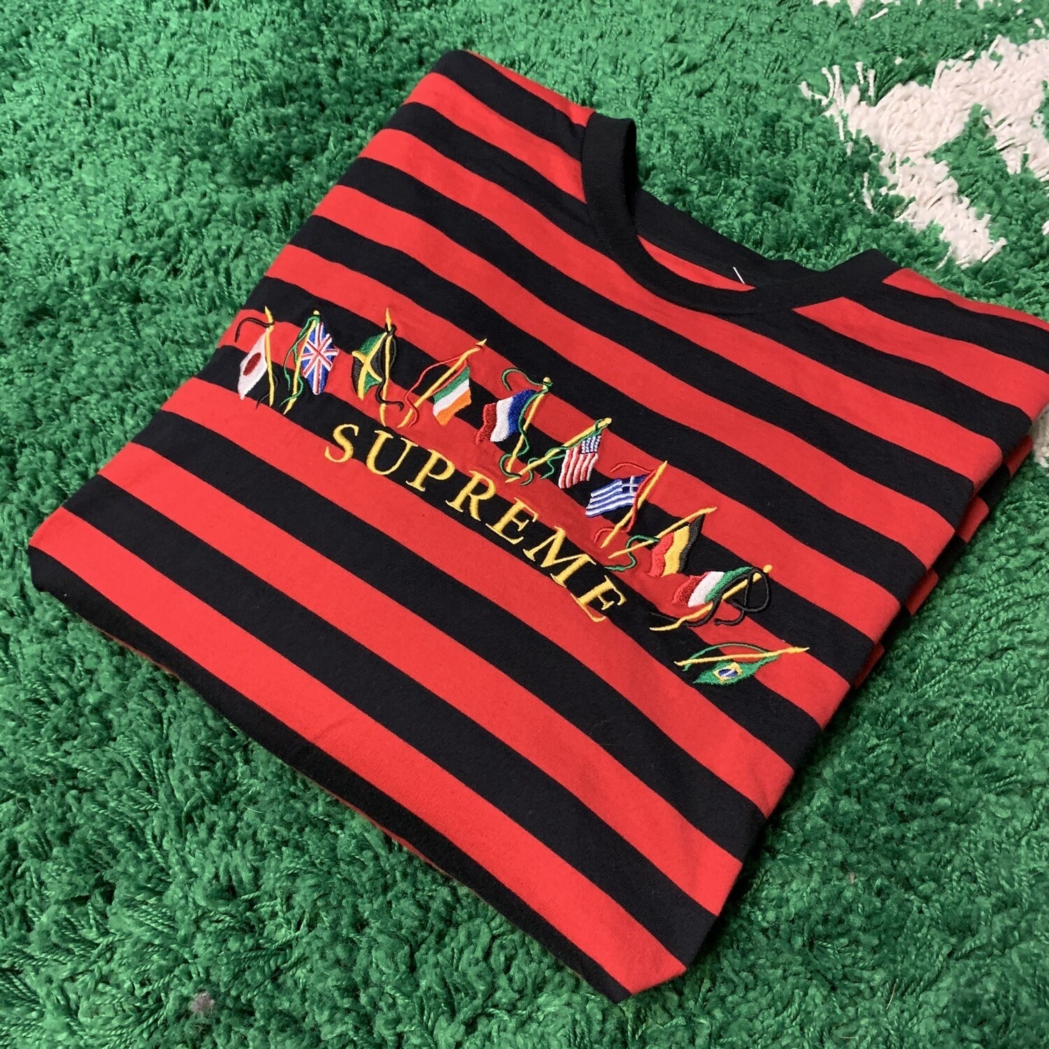Supreme Flags L/S Top Red Stripe Size Large