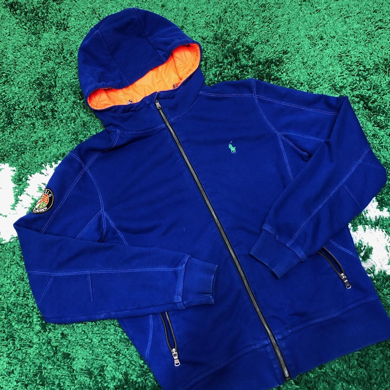 Polo Zip Up Sweater Blue Size Medium