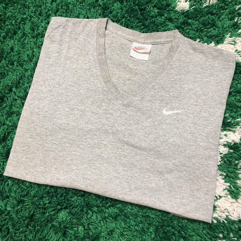 Nike V Neck Shirt Small Swoosh Grey Size Large