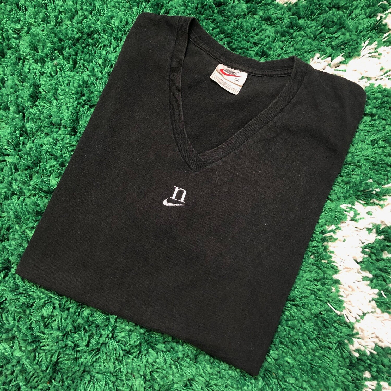 Nike V Neck Shirt Small Swoosh Black Size Medium