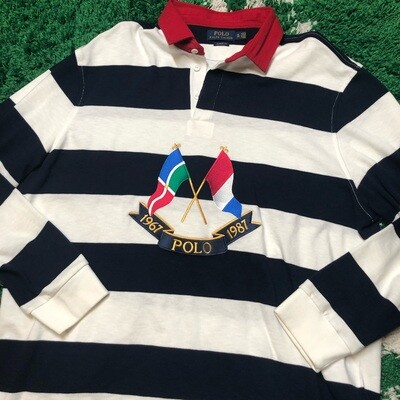 Polo Cross Flags Rugby Long Sleeve Size XL