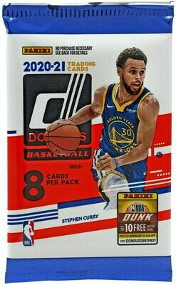 NBA Donruss 2020-21 Basketball Trading Card Booster Pack (8 cards)