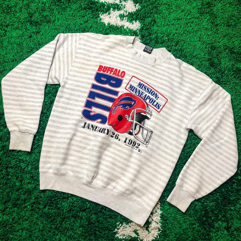 Buffalo Bills 1992 Stripe Crewneck Size Large
