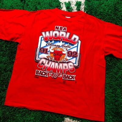 Chicago Bulls Champions 91 92 Tee Red Size XL