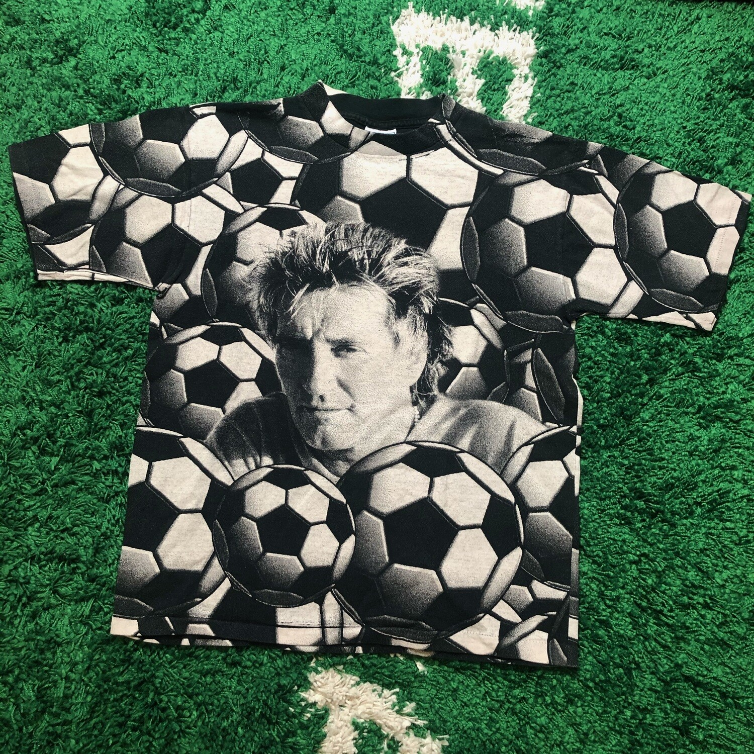 Rod Stewart All Over Print Soccer T-Shirt Size Large