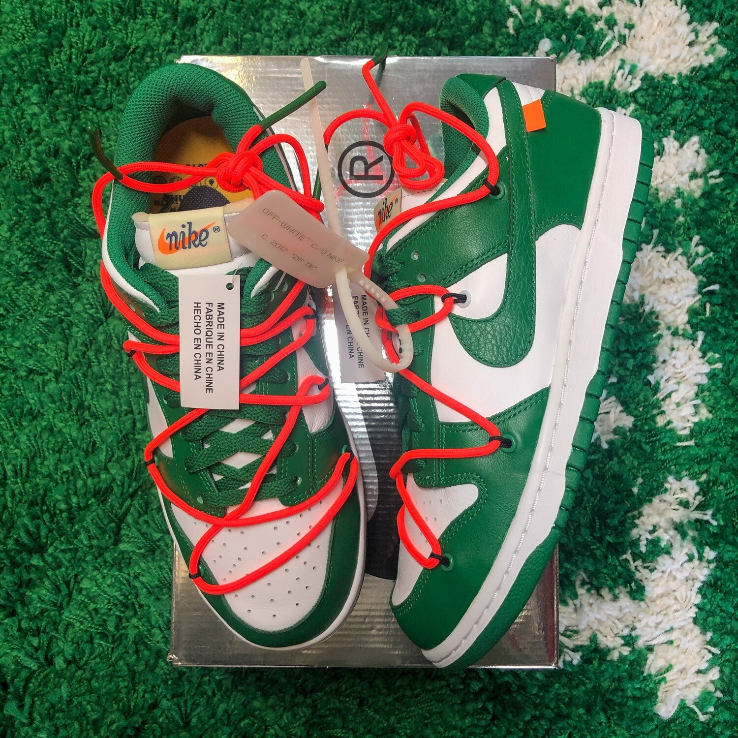 Nike Dunk Low Off-White Pine Green Size 8