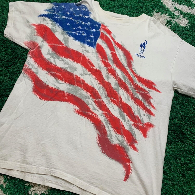 Atlanta 1996 American Flag Tee Size XL