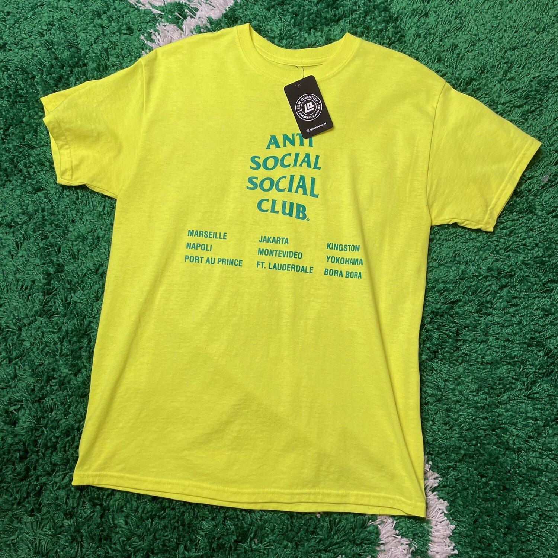Anti Social Social Club Highlighter Green Tee Size Medium