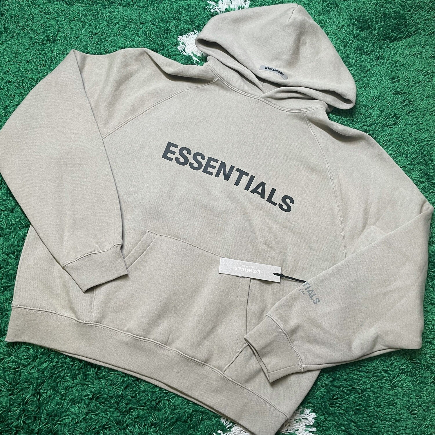 Fear of God Essentials Pullover Hoodie Applique Logo Olive/Khaki Size Large