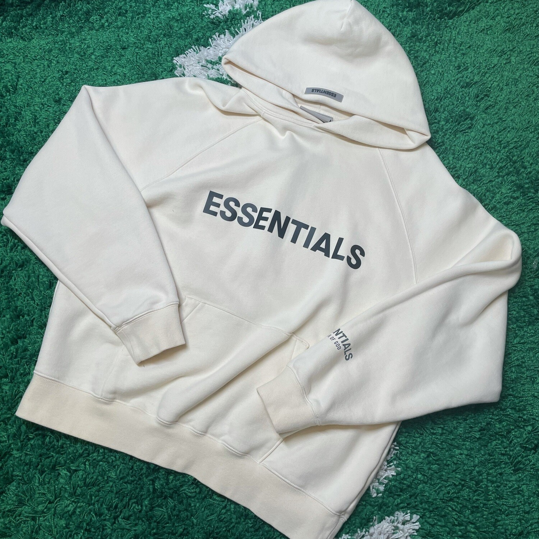 Fear of God Essentials Pullover Hoodie Applique Logo Buttercream Size Medium