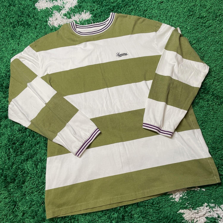 Supreme Printed Stripe L/S Top (FW19) Light Olive Size Large