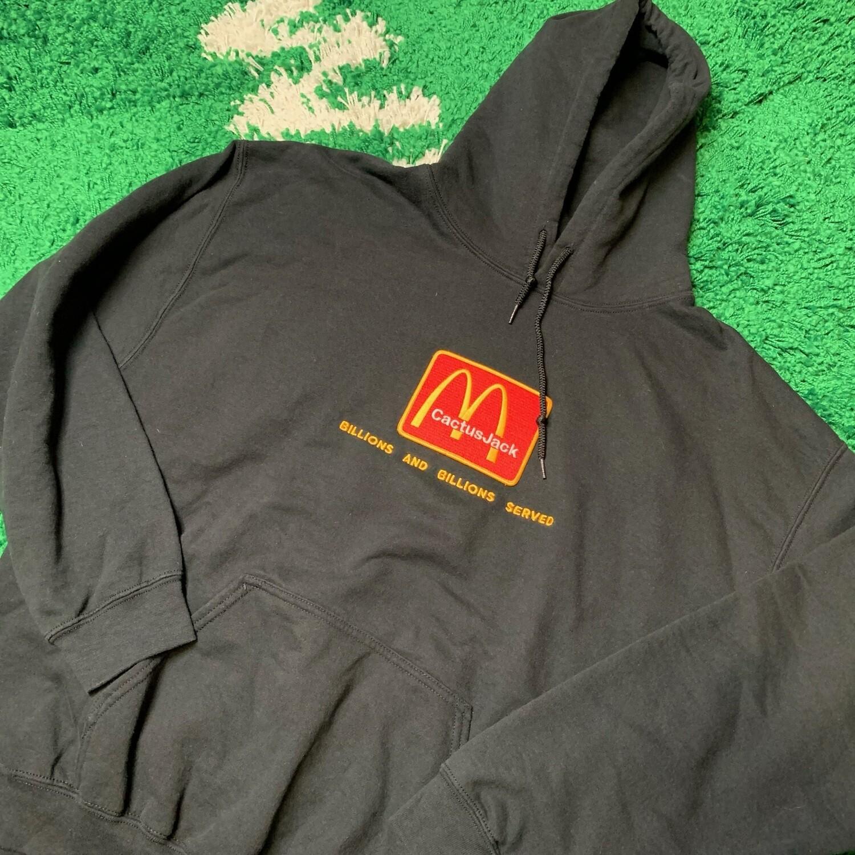Travis Scott x McDonald's Billions Served Hoodie Washed Black Size Medium