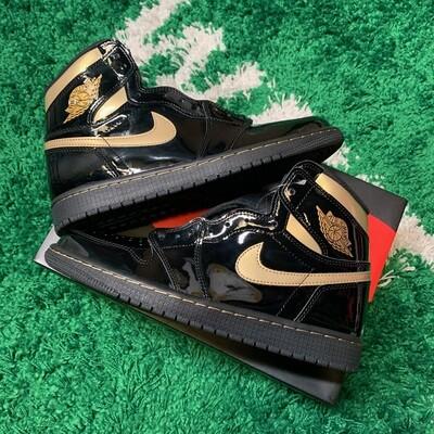 Air Jordan 1 Retro High Black Metallic Gold Size 9