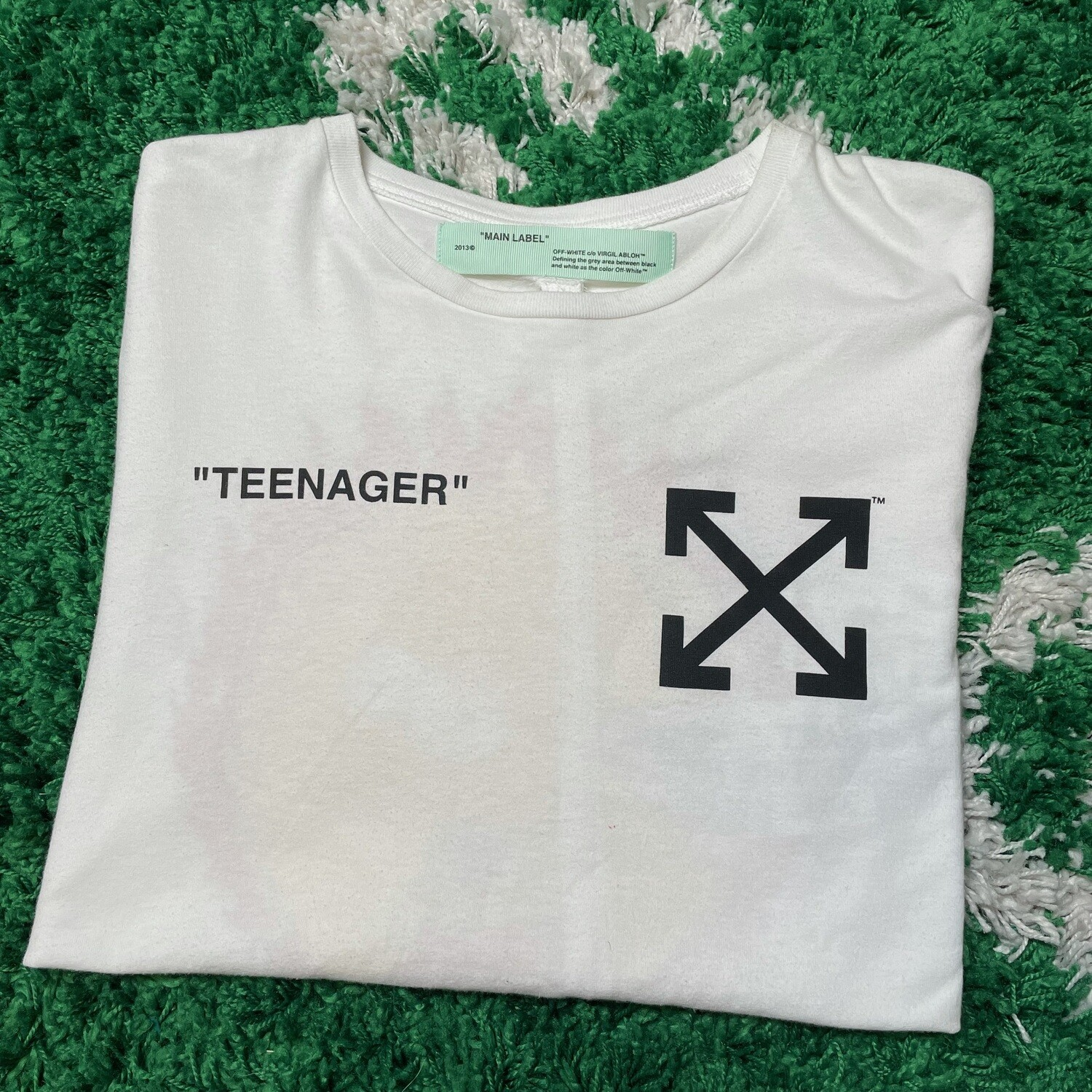 """Off-White """"Teenager"""" Bart Tee Size Large"""