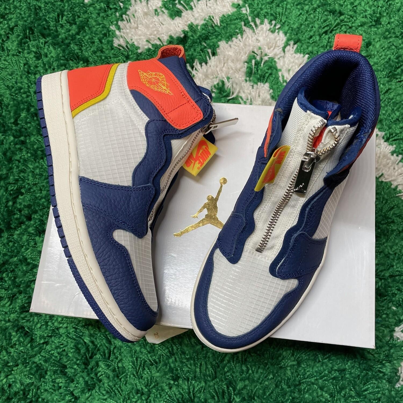 Air Jordan 1 Retro High Zip Blue Void Turf Orange Size 6.5(w)