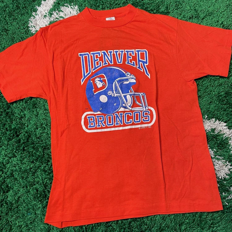 Denver Broncos logo 7 Tee Orange Size Medium